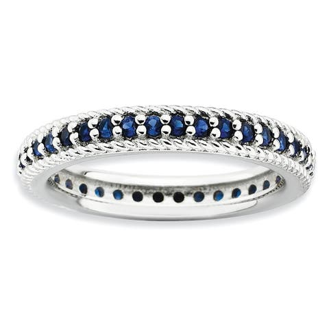 Sterling Silver Stackable Polished Created Sapphire Eternity Ring by Versil