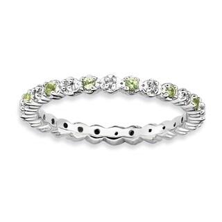 Versil Sterling Silver Peridot And Diamond Ring