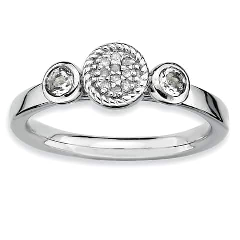 Versil Sterling Silver Double Round White Topaz and Diamond Ring