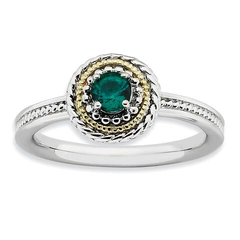 Versil Sterling Silver and 14 Karat Yellow Gold Created Emerald Ring