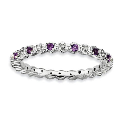 Sterling Silver Polished Stackable Amethyst and Diamond Ring by Versil
