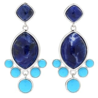"""Pinctore Sterling Silver 1.75"""" Sodalite & Sonora Beauty Turquoise Earrings"""