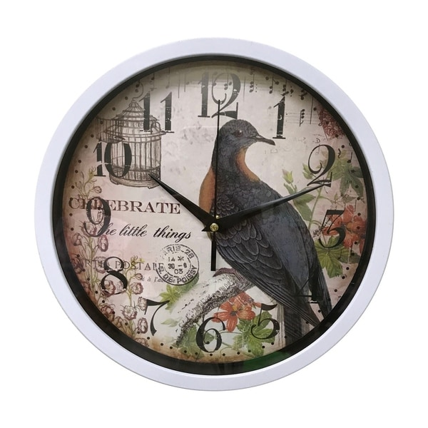 "Creative Motion 10"" Bird Wall Clock In White Frame"