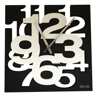Creative Motion 3D Numbers Cut Out and Raise Square Clock with Black Base and White Numbers