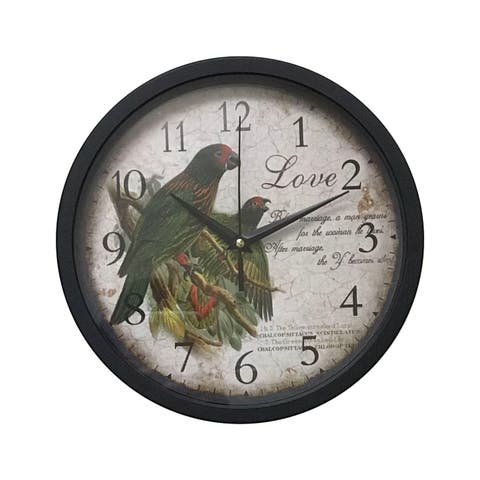 "Creative Motion 10"" Bird Wall Clock In Black Frame"