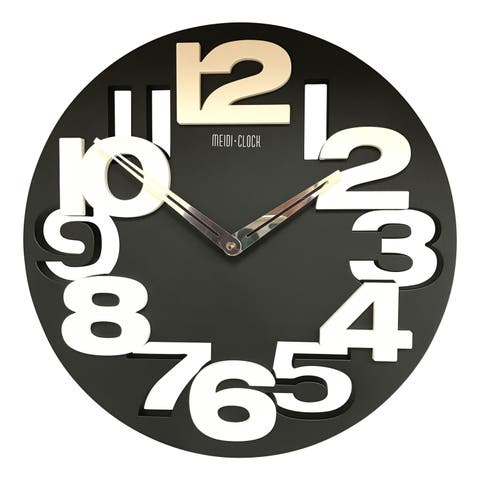Creative Motion 3D Numbers Cut Out and Raise Round Clock with Black Base and White Numbers