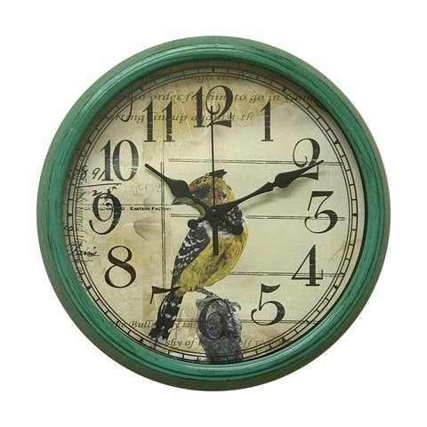 """Creative Motion 14"""" Decorative Wall Clock with Bird Design in Green Frame"""