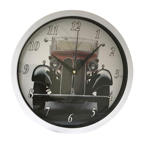 "Creative Motion 10"" Plastic Decorative Wall Clock with Car Design - White"