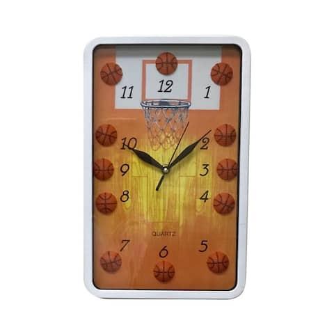 "Creative Motion 12.5""H Rectangular Vertical Decorative Basketball Wall Clock"