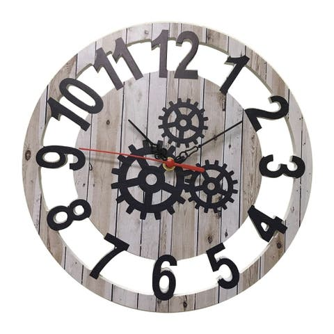 """Creative Motion 12"""" Wood Decorative Wall Clock with Gear Design On The Clock Face"""
