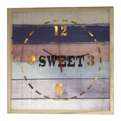 Creative Motion Wood Square Lighted Decorative Wall Clock with Sweet Design