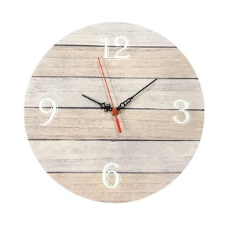 "Creative Motion 12"" Wood Decorative Wall Clock with Number 3, 6, 9, 12 On The Clock Face"