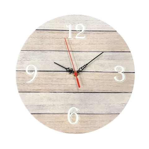 """Creative Motion 12"""" Wood Decorative Wall Clock with Number 3, 6, 9, 12 On The Clock Face"""