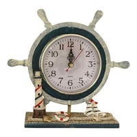 Creative Motion Polyresin Decorative Tabletop Nautical Clock with Steering Wheel