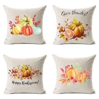 Fall Decor Flowers Pumpkin Leaves Linen Throw Pillow Cover