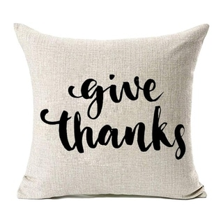 Thanksgiving Decor Give Thanks Cotton Linen Pillow Covers