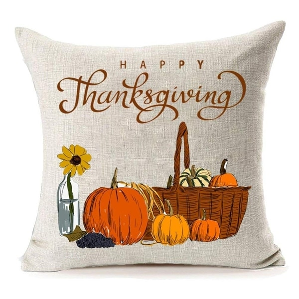 Happy Thanksgiving Cotton Linen Pillow Covers