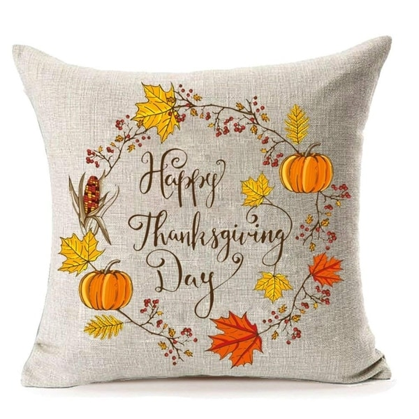 Happy Thanksgiving Day Pumpkin Pillow Covers