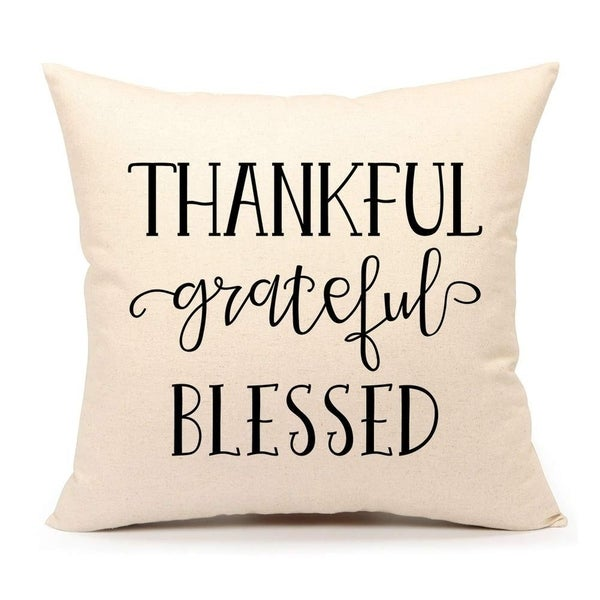 Grateful Thankful Blessed Throw Pillow Cover
