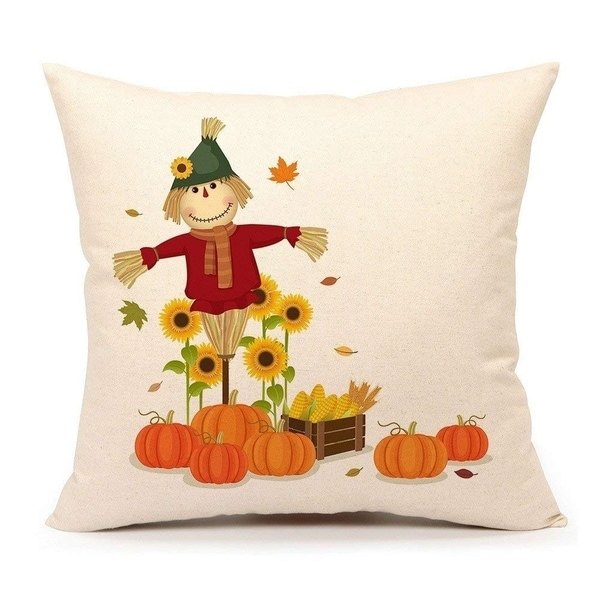 Fall Pumpkin Scarecrow Throw Pillow Cover