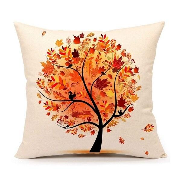 Autumn Fall Tree Cotton Linen Square Throw Pillow Case