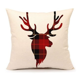 Red Black Buffalo Plaids Deer Throw Pillow Cover