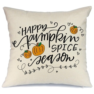 Throw Pillow Cover with Quote Happy Pumpkin