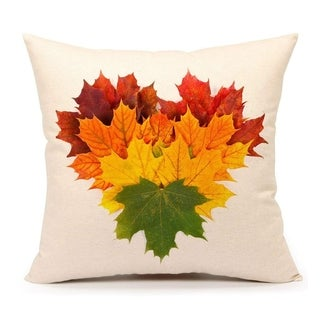 Autumn Leaves Fall Heart Home Decor Throw Pillow Cover