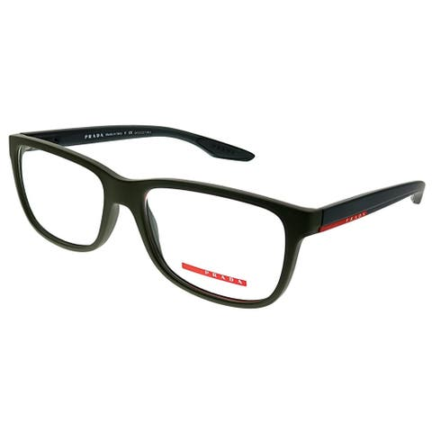 Prada Linea Rossa Rectangle PS 02GV UBW1O1 Unisex Green Rubber Frame Eyeglasses