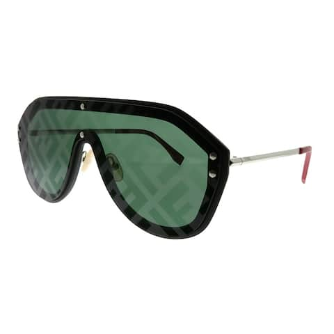 Fendi Men Shield FF M0039/G/S 807 XR Unisex Black Frame Green Fendi Print Lens Sunglasses
