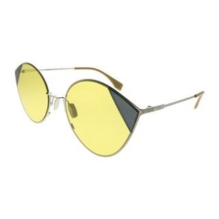 Fendi Cat-Eye FF 0341/S Cut-Eye B1Z HO Women Silver Gold Frame Yellow Lens Sunglasses