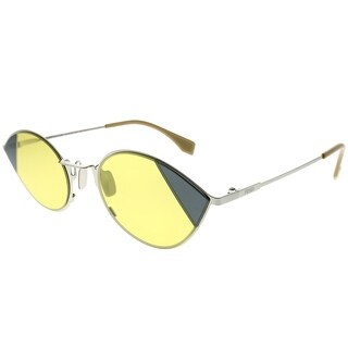Fendi Cat-Eye FF 0342/S Cut-Eye B1Z HO Women Silver Gold Frame Yellow Lens Sunglasses