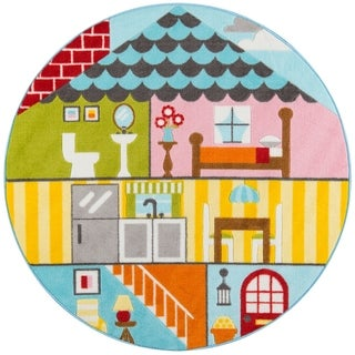 "Momeni Mini Mo Play House Multi Kids Area Rug - 4'4"" x 4'4"" Round"