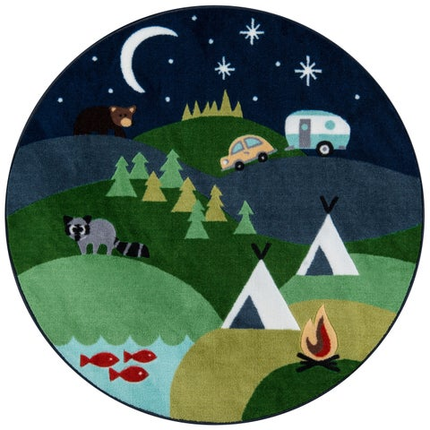 "Momeni Mini Mo Happy Camper Blue Kids Area Rug - 4'4"" x 4'4"" Round"