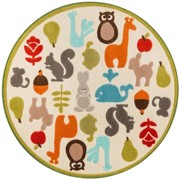 "Momeni Mini Mo Baby Wild Things Ivory Kids Area Rug - 4'4"" x 4'4"" Round"