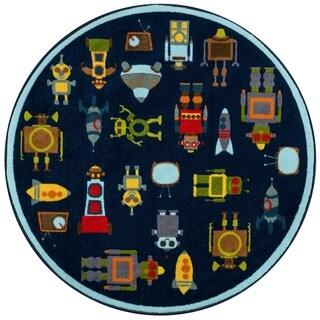 "Momeni Mini Mo Robots Blue Kids Area Rug - 4'4"" x 4'4"" Round"