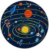 """Momeni Mini Mo Out of This World Navy Kids Area Rug - 4'4"""" x 4'4"""""""