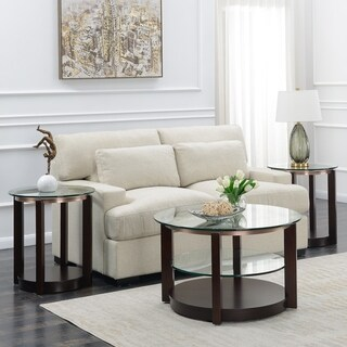 Picket House Furnishings Benton Espresso Glass/Wood 3-piece Occasional Table Set with Coffee Table & Two End Tables