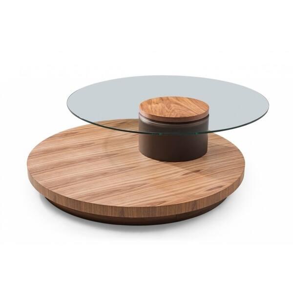 Shop Modrest Memphis Modern Walnut And Glass Round Coffee Table