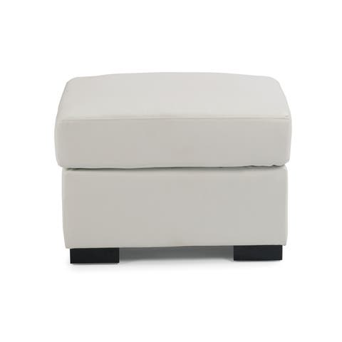 Erin Ivory Upholstered Contemporary Ottoman