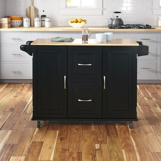 Home Styles Dolly Madison Patriot Black Wood Kitchen Cart