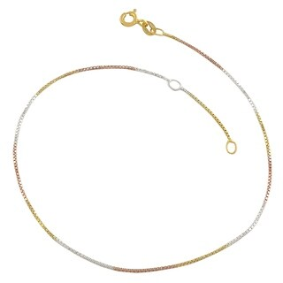 Tricolor Gold Over Sterling Silver Box Chain Adjustable Length Anklet (adjusts to 9 or 10 inches)