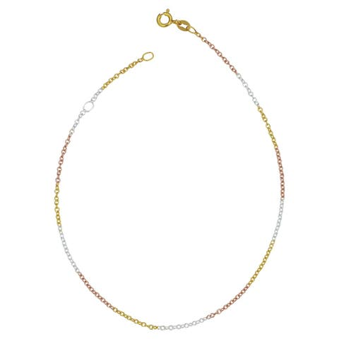 Tricolor Gold Over Sterling Silver Cable Chain Adjustable Length Anklet (adjusts to 9 or 10 inches)