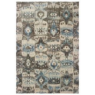 "The Curated Nomad Erie Tribal Panel Blue/ Brown Area Rug - 7'10"" x 10'10"""