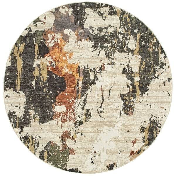 "Astratto Patina Beige/ Charcoal Area Rug - 7'10"" Round"