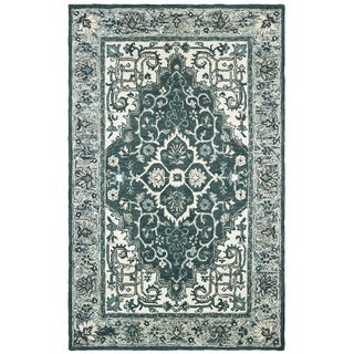 The Curated Nomad Fargo Traditional Medallion Hand-tufted Wool Grey/ Blue Area Rug - 8' x 10'