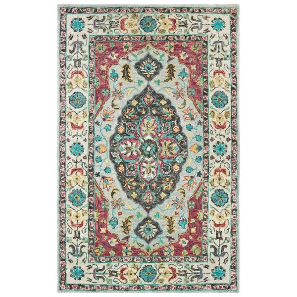 The Curated Nomad Fargo Traditional Medallion Hand-tufted Wool Grey/ Pink Area Rug - 10' x 13'
