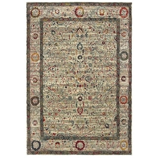 """Distressed Traditional Ivory/ Multi Area Rug - 6'7"""" x 9'6"""""""
