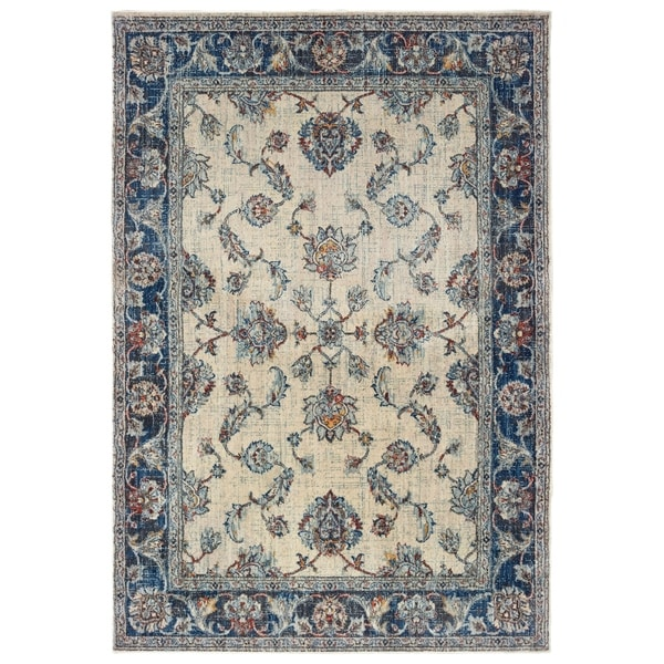"""Bordered Traditional Ivory/ Blue Area Rug - 7'10"""" x 10'10"""""""