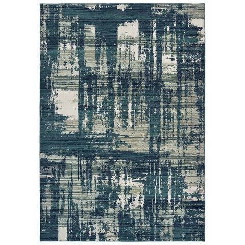 """Strick & Bolton Cifra Abstract Blue/ Grey Area Rug - 9'10"""" x 12'10"""""""